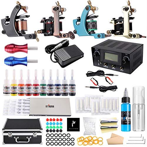 Stigma Complete Tattoo Kit, 4 Pro Machine Guns 10 Tattoo Inks and 20 Pcs...