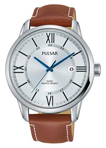 Pulsar Herren Analog Quarz Uhr mit Leder Armband PS9469X1