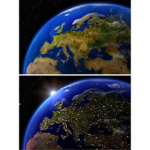 GREAT ART Juego de 2 Carteles XXL - Tierra Desde el Espacio Exterior - Mural Europa de día y de Noche decoración Universo astronautas - Foto Papel de Pared póster (140 x 100 cm)