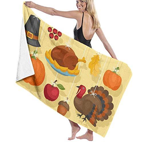 Happy Thanksgiving Day con toallas de baño de secado rápido, suave, toalla de ducha de playa, 130 x 80 cm