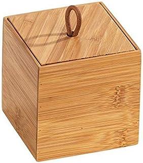 WENKO Boîte avec couvercle en bambou Terra S - Boîte de rangement, panier de salle de bain, Bambou, 9 x 9 x 9 cm, naturel