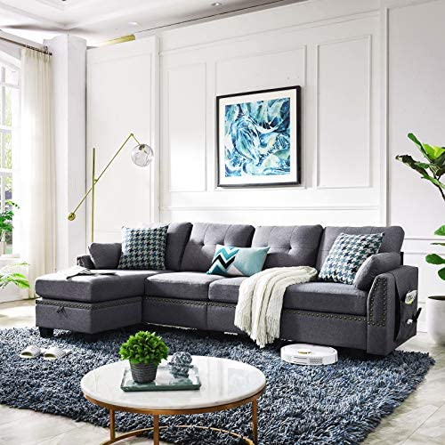 Best HONBAY Reversible Sectional Sofa Couch for Living Room L-Shape Sofa Couch 4-seat Sofas Sectional for