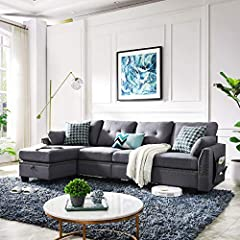 Firm and comfortable Sofa Couch-The cushions you sit on are nice and firm. You'll never have to worry about sinking in.The more you sit in it the better. Perfect for apartment, condo, loft, bungalow, house. High Quality and Easy Assembly-Fabric is br...