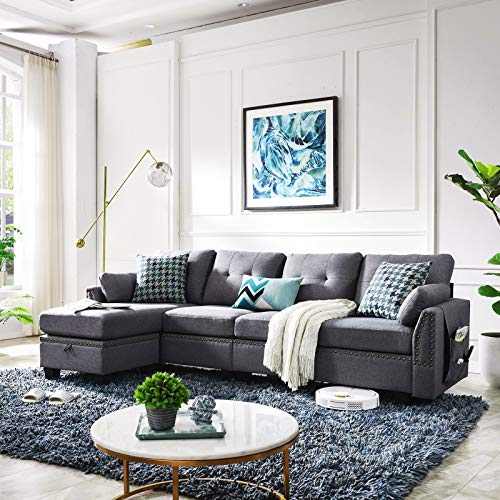 HONBAY Reversible Sectional Sofa Couch 4-seat for 499.99