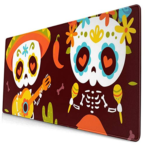 Large Mouse Pad Cartoon Style Day of Dead Autumn Leaves XXL Extended Gaming Mouse Pad Portable Waterproof Writing Pad for Mouse Office, Home, Non-Slip Rubber Base