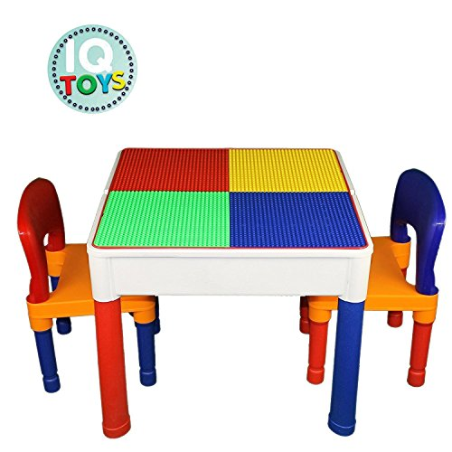 IQ Toys Kids Table & Chairs 3 in 1 Major Brands Compatible Plus Storage Play Set