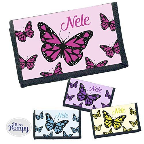 MissRompy Schmetterling (794) Geldbeutel mit Name Geldbörse Kindergeldbeutel Kindergeldbörse Wunschname