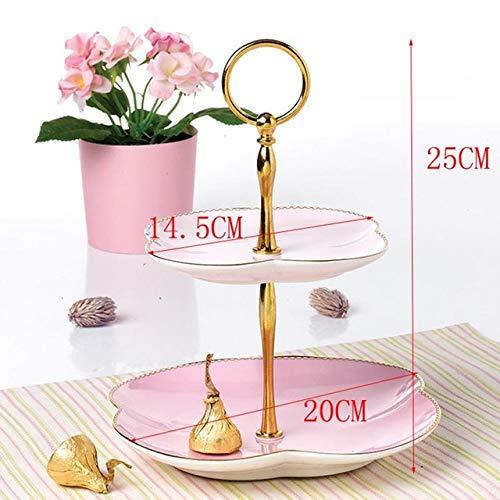 2-laags bruidstaart standhouder set keramische snackborden dessertgerechten gebak fruitschaal keramische serviesaccessoires, roze