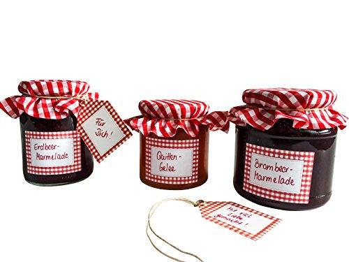EAST-WEST Trading GmbH Spar-Set Einmach-Etiketten-Set mit Glasdeckchen und Anhängern, Haushaltsetiketten, Rot (je 5 x)