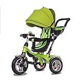 JHTD Bébé Tricycle, Poussette de Direction Pliable, vélo d'apprentissage avec Garde-Corps Amovible, auvent Ajustable, Harnais de sécurité, pédale Pliante, Frein,Vert
