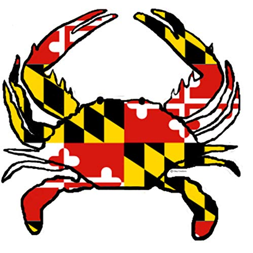 CBay Creations Maryland Flag Crab Shape Magnet