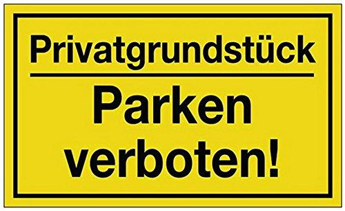 señal de propiedad privada prohibido aparcar B.250xH.150mm plástico amarillo/negro