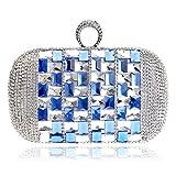 Bolso De Noche Mujeres Gafas Bling Bolsos De Noche para Mujer Anillo De Dedo Diamantes Clutches Monedero Bolso De Noche Rhinestones Crystal Purse-Blue_16 × 5 × 10Cm