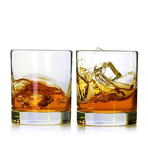 Whiskey Glasses,Set of 2,11 oz,Premium Scotch Glasses,Bourbon Glasses for Cocktails,Rock Style Old Fashioned Drinking Glassware,Perfect for Fathers Day Gifts,Party,Bars, Restaurants and Home