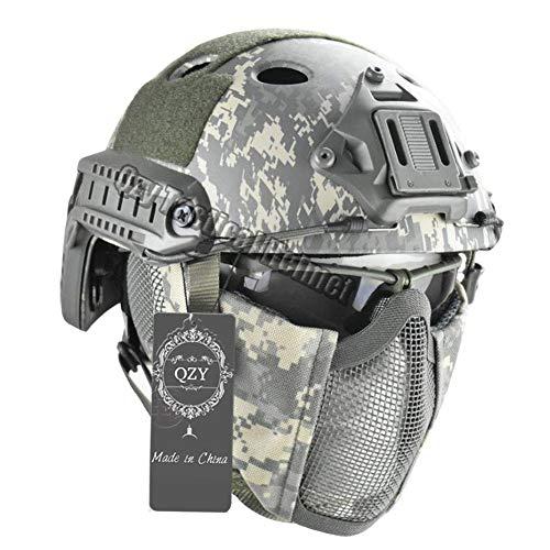 QZY Casco Táctico Rápido con Protección del Oído Máscara de Acero y Gafas Set para Airsoft Paintball Protector Anti-Riot Casco Ligero,ACU
