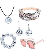 5 Pieces 1970s Disco Accessories Disco Set Ball Earrings Necklace BraceletBling Headband and Sungl for Women