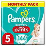 Pampers Baby-Dry Nappy Pants Size 5, 144 Nappy Pants, Monthly Saving Pack, Easy-On with Air Channels for Up to 12 Hours of Breathable Dryness, 12-17 kg