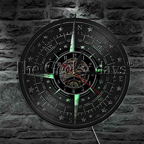 ZZLLL Brújula diseño de decoración Disco de Vinilo Reloj de Pared Antiguo Reloj de Pared Colgante de Pared Moderno decoración del hogar Arte Mejor Regalo-con LED