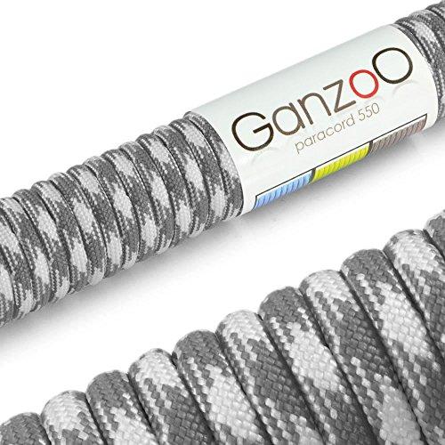 Paracord 550 corde 15m, pour bracelet, laisse pour chien, couleur : blanc, gris