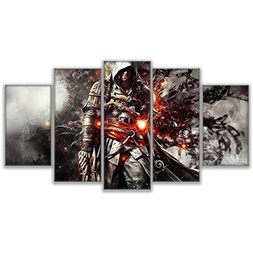 ADGUH 5BilderLeinwanColomac Filmplakat Dekor Nordica Infantil Fünf Stücke HD Wandkunst Rahmen Bild Assassins Creed Home Room Craft Painting 5 Drucke auf Leinwand