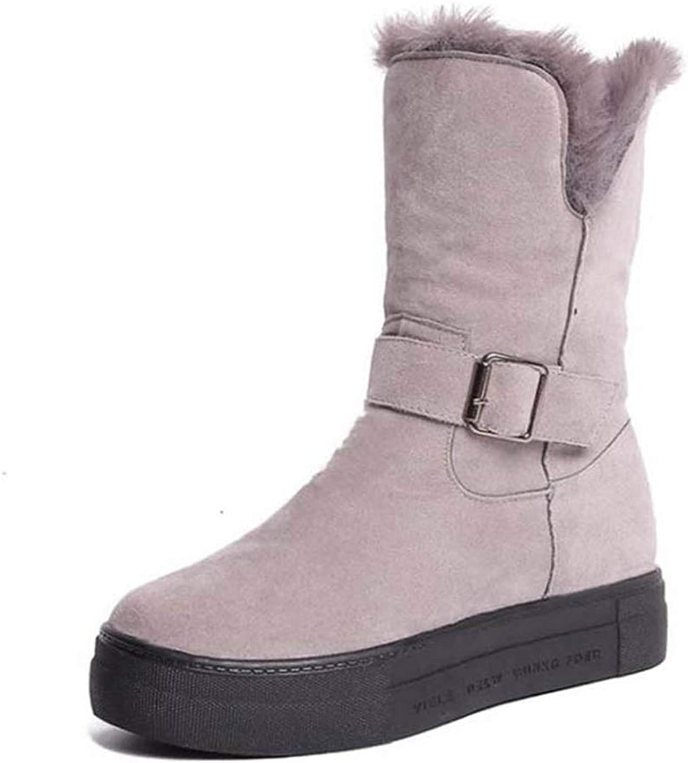 Women's Short Boots Plush Fur Winter Warm shoes Round Toe Mid Calf Boots Fashion Concise Ladies shoes