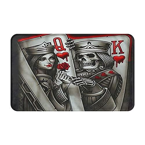 MJIAX Alfombras de baño, alfombras de baño,Cartas Rey Reina Tatuaje Poker Q Y K, Alfombras de Felpa Alfombras Felpudo Suave y Duradero Alfombras decoración Antideslizante