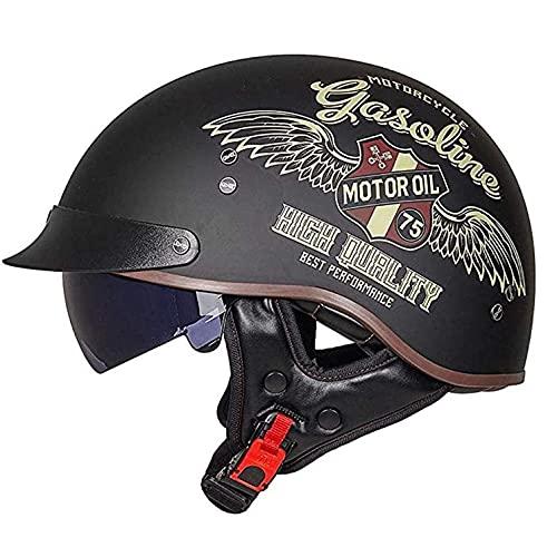 WQWY Adulto Casco Moto Jet Abierto Casco de Moto Medio Abierto Estilo Retro con Visera Casco de Motociclista Scooter Touring,ECE Homologado Half Helmet para Hombres Y Mujeres F,XL=59-60CM