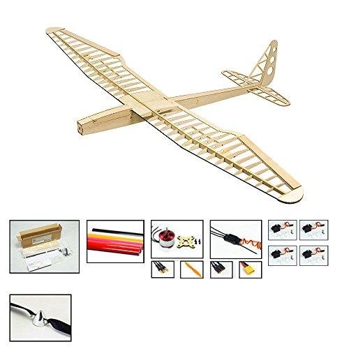 RC Glider Kit Sunbird Electric Sailplane, 1.6M Laser Cut Balsa Wood Glider RC Plane Kit to Build for Adults, DIY Electric 4CH Radio Remote Control Airplane Model Aircraft(KIT+Motor+ESC+Servo+Covering)