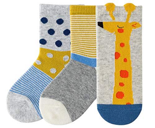 makkis 3 Paar Kindersocken mit Tier-Mustern (z.B. Fuchs, Tiger), gekämmte Baumwolle, Socken Kinder Mädchen Jungen