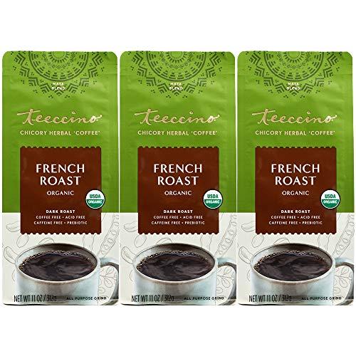 Teeccino Chicory Coffee Alternative – French Roast – Ground Herbal Coffee That's Prebiotic, Caffeine Free & Acid Free, Dark Roast, 11 Ounce (Pack of 3)