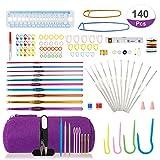 LIHAO 140 Piezas Kit de Ganchillos Crochet Ganchillos Aluminio con Accesorios,...