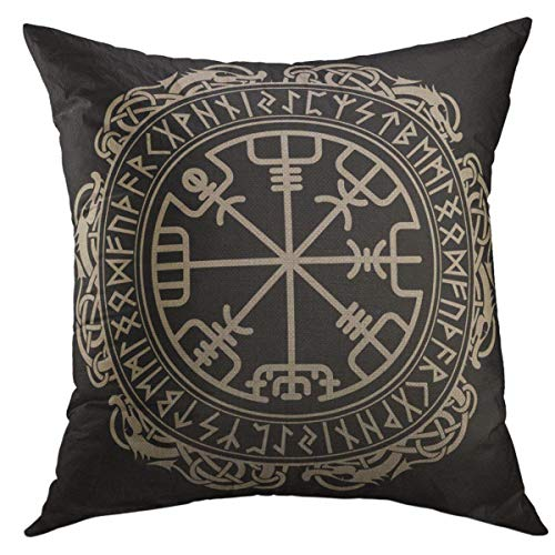 Mugod Decorative Throw Pillow Cover for Couch Sofa,Black Celtic Viking Design Magical Runic Compass Vegvisir in the Circle of Norse Runes Dragons Tattoo Home Decor Pillow case 18x18 Inch