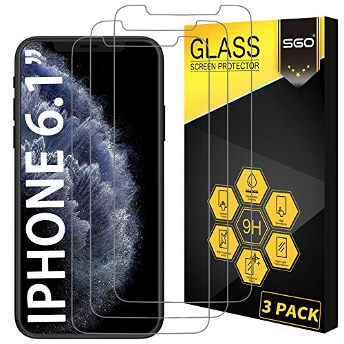 [3-Pack] SGO Glass Screen Protector for Apple iPhone 11/iPhone XR 6.1 Inch Tempered Glass Screen Protector for Apple iPhone 11/iPhone XR 6.1 Inch Display Anti Scratch Advanced HD Clarity Work Most Case