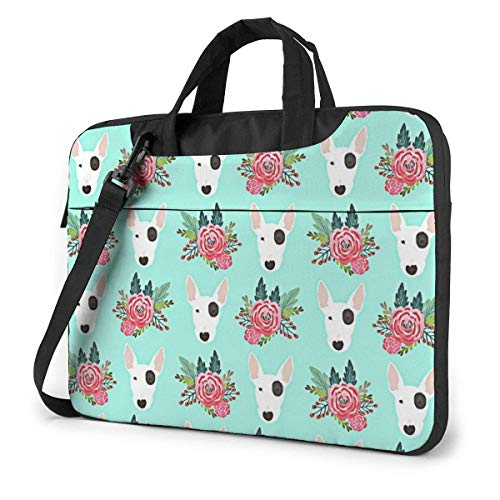 Laptop Bag Bull Terrier Floral Multi-Functional Laptop Sleeve Cover with Strap and Handle Laptop/Notebook