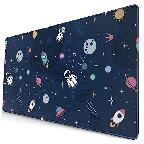 Astronaut Space Large Gaming Mouse Pad, Planet Rocket Mouse Mat, Keyboard Pad, Office Desk Mat, Anti-Slip Rubber with Durable Stitched Edge for Office Laptop Computer PC Men Women Kids 15.7 X 30 Inch