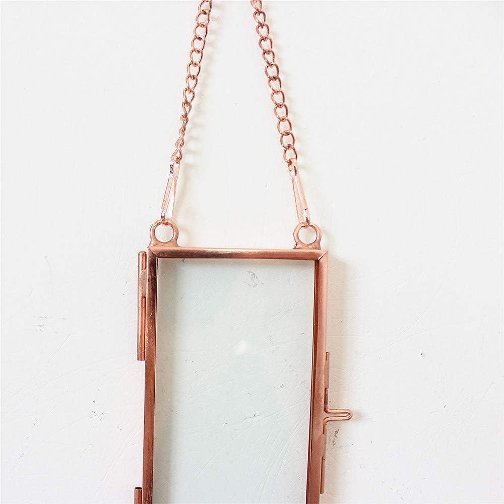 Libproqia 2Pcs Mini Size 1.9x3.9 Clear Glass Picture Frame Wall Hanging Certificate Mini Photo Plant Specimen Clip Copper Home Geometric Vertical Decor Little Card Holder Rose Gold