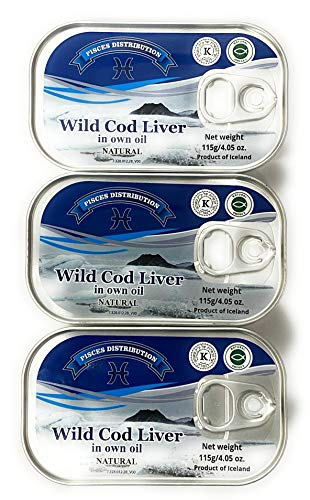 Wild Cod Liver Canned From North Atlantic Ocean 4.05oz pack of 3