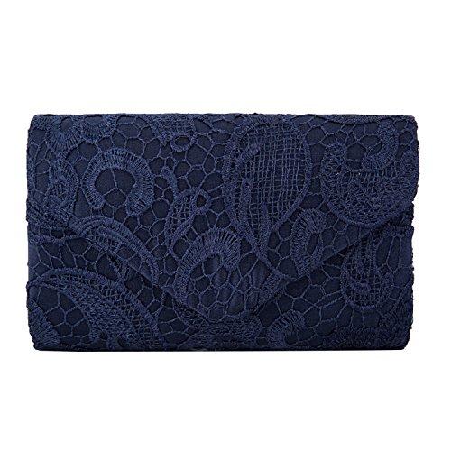 Mujer Satén Encaje Bolsas De Flores De Boda Bolso Nupcial De Partido Fiesta Noche Embrague Carteras,Azul Oscuro