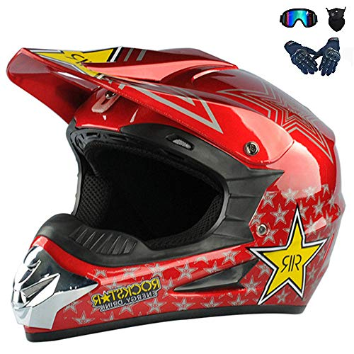 ZZSG Sport Motorrad Off-Road Moto-Cross Kinder Enduro Fahrradhelm Roller Integralhelm mit Handschuhe Maske Brille Motorradhelm, Motorrad Crosshelm, Road Racing 4 Seasons,M