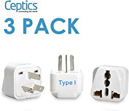 Ceptics Australia, China, New Zealand Travel Plug Adapter (Type I) - 3 Pack [Grounded & Universal] (GP-16-3PK)