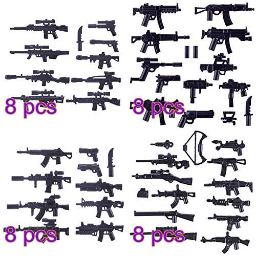 Tewerfitisme 392 piezas pequeñas de piezas militares, accesorios de armas, piezas de montaje de puzle, juguetes para niños, armas militares, juguetes compatibles con Lego