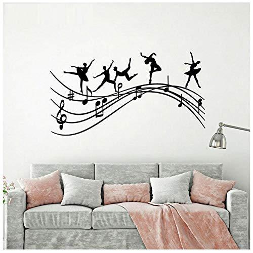 XXSCZ Ballet dansers muziek notities Melodie Ballerina muur Stickers Vinyl interieur huis Decor muurschilderingen verwijderbare Transfer Film Decals 77x42cm