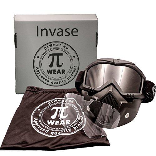 PiWear Motorradbrille Invase mit abnehmbarer Maske Kit, schwarz mit klarem und dunklem Glas