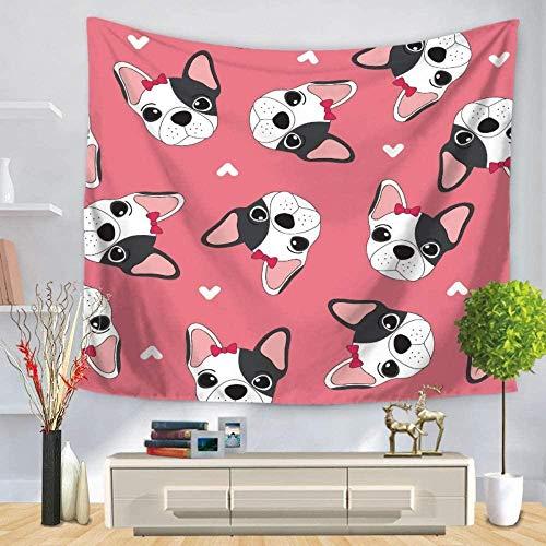 Wandtapijt,Schattige hond hoofdband met Bow n stijl psychedelische hippie gotische mode grootte bedrukte stof voor woonkamer slaapkamer gang bibliotheek slaapzaal kunst muur -150 × 200cm