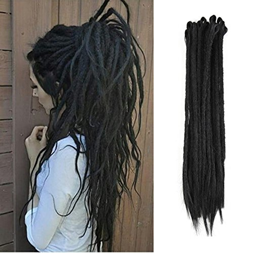 AOSOME 20pcs/pack Crochet Dreadlock Extensions Synthetic Braids Hair Extension 20inch,Black