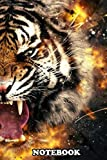 Notebook: 4k Image Of Tiger Surrounded By Fire , Journal for Writing, College Ruled Size 6' x 9', 110 Pages
