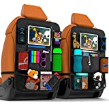 Backseat Car Organizer | Pack of 2 with Clear Screen Tablet Holder | Durable Travel Accessories| 9x2 Storage Pockets| Seatback Protectors with USB/Headphone For Toys Drinks Book Kids Tray | by Azalix
