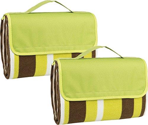 Idena 2 Stück Picknickdecke mit Tragegriff, grün-gestreift geöffnet ca. 150 x 135 cm | geschlossen ca. 30 x 20cm