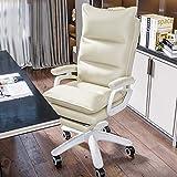Silla Boss de cuero, silla ergonómica de oficina ejecutiva grande y alta Sillas de videojuegos con reposapiés, respaldo ajustable en altura Asiento artístico de cuero reclinable con brazo, acolch