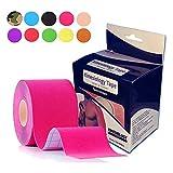 GROENOX - 5m Kinesiologie Tape in 10 Farben / 5cm 100% gewebte Baumwolle, wasserresistent für Physiotherapie, Sport, Freizeit und Medizin - pink